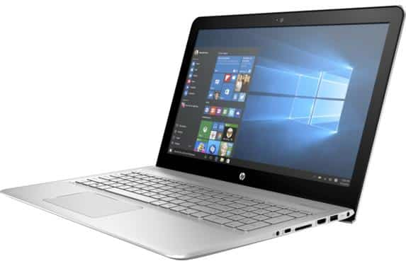 The left side view of the Silver colored HP Envy 15t